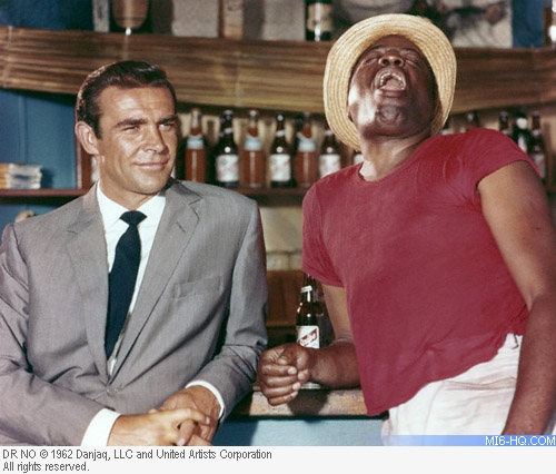 Sean Connery and John Kitzmiller filming Dr. No
