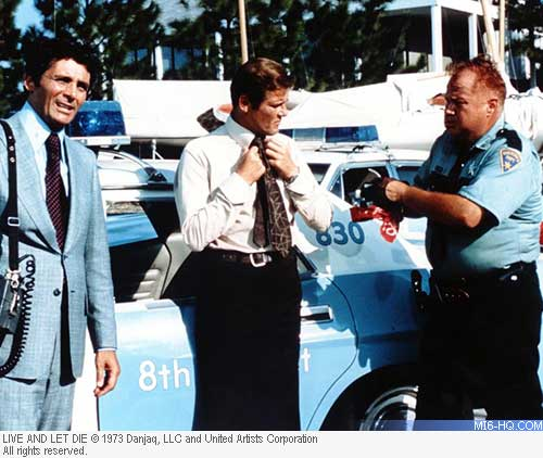 David Hedison and Roger Moore in New Orleans for Live and Let Die