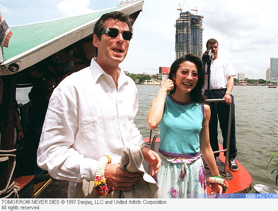 Pierce Brosnan and Michelle Yeoh in Bangkok for Tomorrow Never Dies