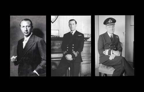 Lt. Commander Ian Fleming, Adm. John Godfrey, and MI6 agent Dusko Popov