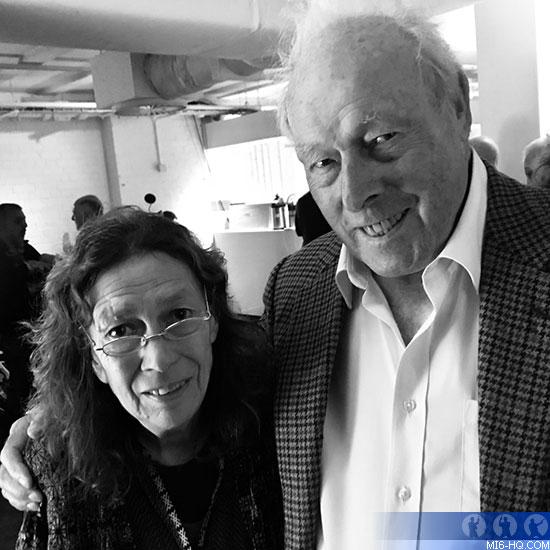 Sally Hibbin and Licence To Kill director, John Glen at a Bond reunion