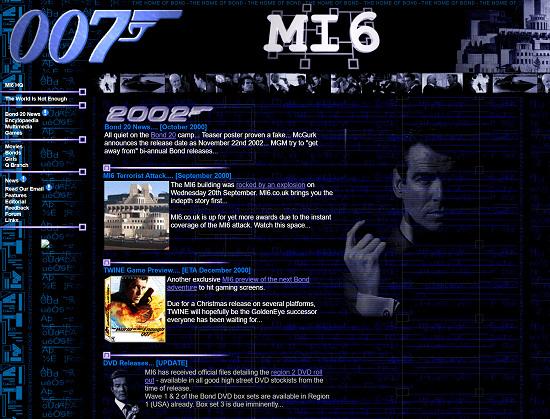 MI6 website design
