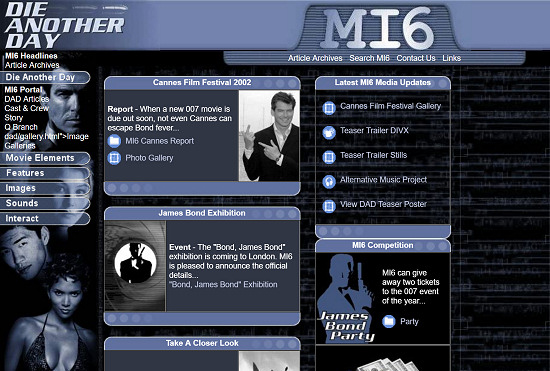 MI6 website design