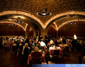 Interior of the Oyster Bar, in Grand Central Station. Bond considers their Oyster stew to be the best meal in New York