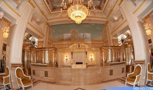 The elaborate lobby of the St. Regis, New York